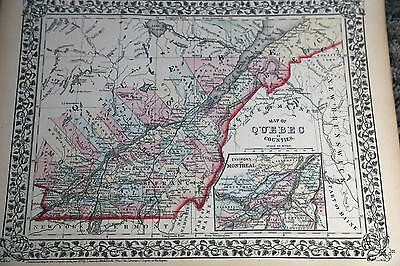 1874 Mitchell Antique Atlas Map-Quebec-Handcolored-Beautiful Border