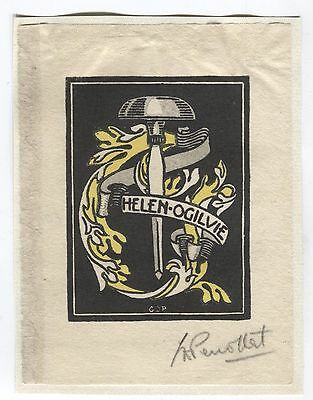 Ex libris by Perrottet for Helen Ogilvie  Pencil signed