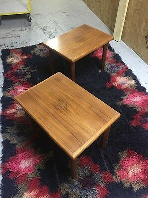Vintage BRDR Furbo Danish Teak Pair Side End Tables Mid Century Modern