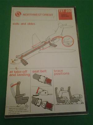 NORTHWEST AIRLINES 727-200 Safety Card