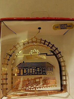 Central RR Station Sugarcreek Ohio 24k gold finish Brass Ornament