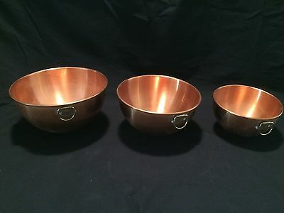 Set Of Three Solid Copper Mixing Bowls
