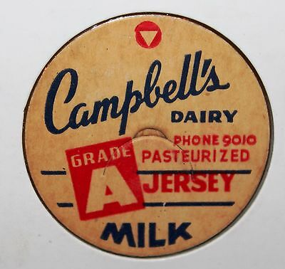 Vintage Milk Cap from Campbells Dairy Grade A Jersey Phone 9010