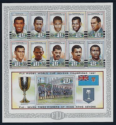 1997 Fiji Rugby Sevens World Cup Champions Sheetlet Fine Mint Mnh/muh