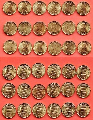 1967 QEll 18 x BRASS THREEPENCE PIECES (3d) COINS ERII Good Circulated Condition