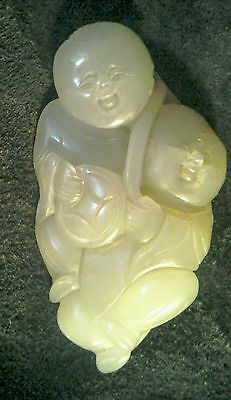 Chinese Republic Period pale celadon Nephrite Jade He He Twins Amulet/hand piece