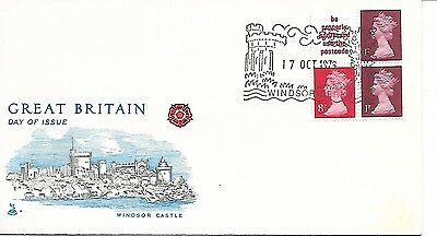 GB 1979 October 10p booklet pane Machin FDC Windsor cancel