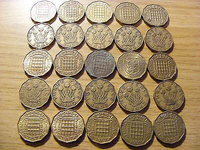 A Collection of 25 Threepence Coins - dates  1937 - 1967 inc a Jersey coin
