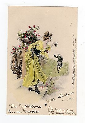Old Postcard Glamour Beautiful Lady Early Undivided Tuck Series 853