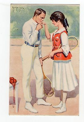 Old Postcard Glamour Tennis Related Couple In Love