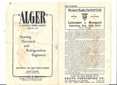 newport v leicester rugby union programme 14/02/1948