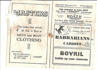 cardiff v barbarians rugby league programme 27/03/1948
