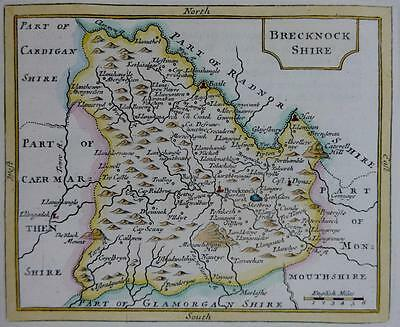 WALES BRECKNOCKSHIRE  BY JOHN SELLER AND FRANCIS GROSE GENUINE ANTIQUE MAP c1787