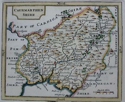 CAERMARTHENSHIRE  BY JOHN SELLER AND FRANCIS GROSE GENUINE ANTIQUE MAP  c1787