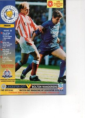 Leicester City v Bolton Wanderers 1993/94 division 1
