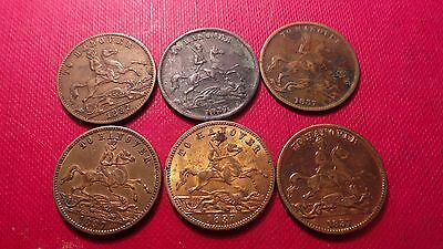 """6 x matching, """"To Hanover"""", Queen Victoria, Tokens. Dated 1837."""