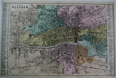 GLASGOW TOWN PLAN  SCOTLAND  LARGE SCALE MAP HAND COLOUR GEORGE BACON  c1881