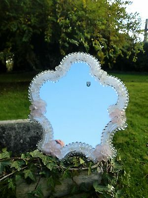 Vintage  Italian  Murano Pink  & White Flowers Glass Mirror With Original Label