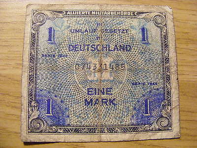 1944 Germany  1 mark Banknote,   Used - Folds and dirty marks