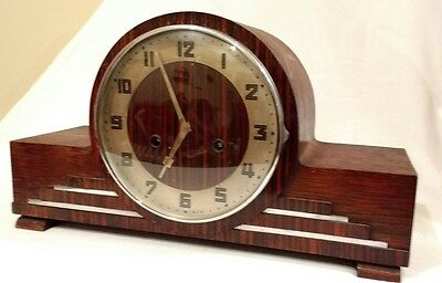 Antique Napoleon hat mantle clock wood working H.A.C. pendulum and chime