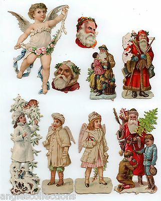 9 Father Christmas Angels Glitter Die Cut Embossed Paper Scraps 1880s Antique