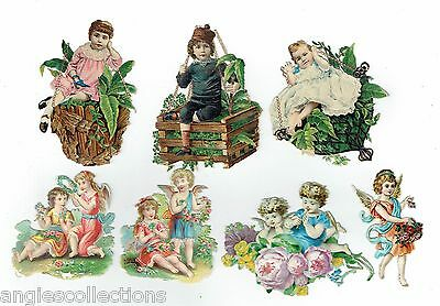 7  Various ANGELS CHILDREN Lithographic Die Cut Embossed Paper Scraps Antique