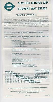 Route 232A London Transport Bus Timetable Lft Jan 1973