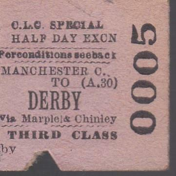 Cheshire Lines Committee Railway HALF Ticket DERBY 0005