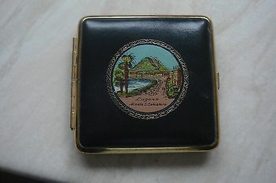 Ladies Vintage Compact Decorated With Foreign Pic Good Cond