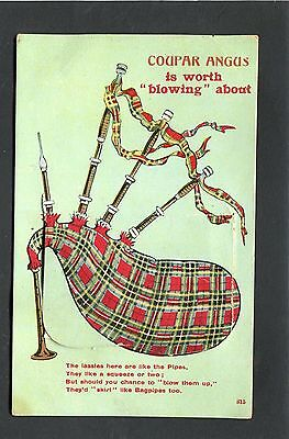 Coupar Angus Perthshire - Novelty Card 12 Popular Views Bagpipes p/u 1914