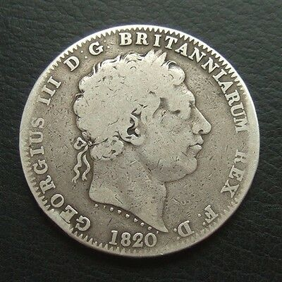 1820 CROWN : LX ON EDGE : GEORGE III BRITISH .9250 STERLING SILVER COIN ...t16