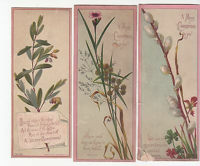 3 Merry Christmas Pink Trimmed Bookmarks Pussy Willow Flowers Card  c 1880s