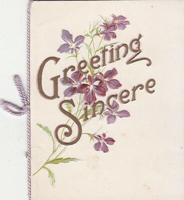 Greeting Sincere Christmas Verse Folding Vintage Card c 1910