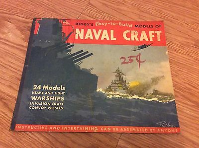 1945 WWII RIGBY'S Easy to Build MODELS OF NAVAL CRAFT Punch out