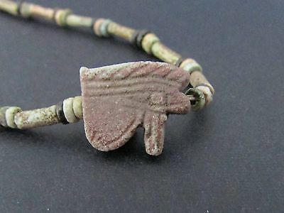 Ancient Egyptian Eye of Horus Amulet Mummy Bead Necklace ca 600 BC