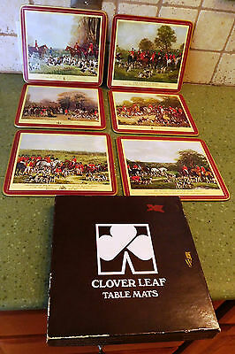 Box set (6) CLOVER LEAF TABLE MATS Hunting Fox Scenes UK United Kingdom Cork Hot