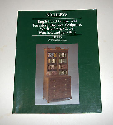 ENGLISH & CONTINENTAL FURNITURE, ANTIQUES Sotheby's Auction Catalogue July 1989