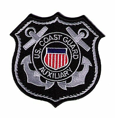 HOOK/LOOP Auxiliary shield silver on black W5569V USCG Coast Guard patch