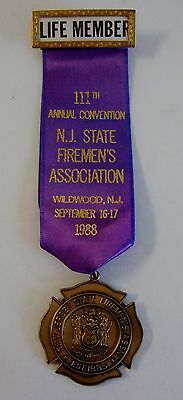 1988 111th Annual Convention NJ State Firemens Assoc Wildwood NJ Medal Ribbon