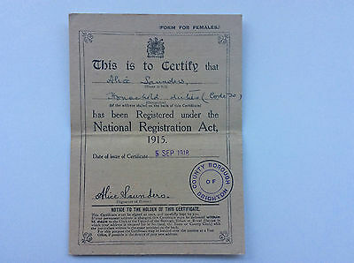 National Registration Act, 1915.  Form For Females.   Stamp Dated 5 Sep 1918