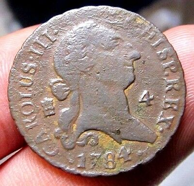 awesome 1784 PIRATE COBS SPANISH 4 Maravedis Colonial Coin Carlos CHARLES III