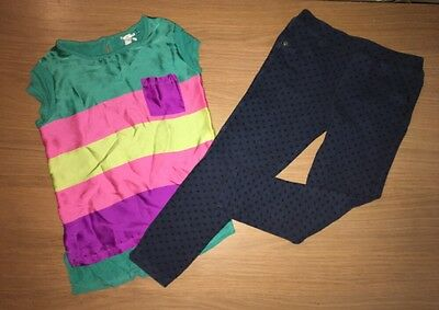 NEXT Silky Colour Block Top Marks & Spencer Skinny Navy Jeans  4-5 Years