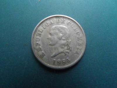 .1886 5 Centavos Silver Coin Of Colombia.fine.