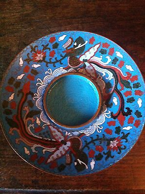 Unusual Antique Chinese Cloisonne Phoenix Stand / Dish On Foot - Guangxu Mark