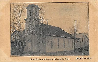 Nelsonville Ohio First Christian Church 1906 Postcard Athens County