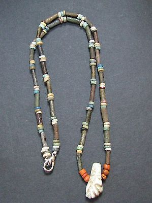 NILE  Ancient Egyptian Fist Amulet Mummy Bead Necklace ca 600 BC