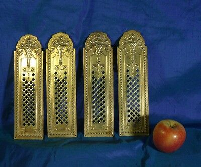Antique lot of 4 brass door finger plates door pushes.
