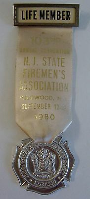 1980 103rd Annual Convention NJ State Firemens Assoc Wildwood NJ Medal Ribbon