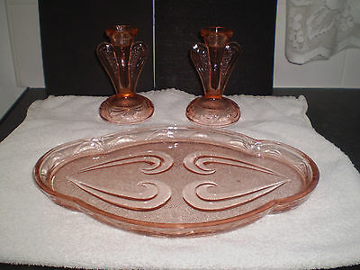 Bagley/sowerby Pink Art Glass Dressing Table Tray & 2 Candlesticks