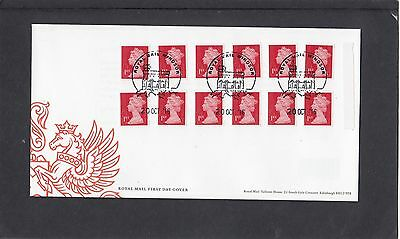GB 2016  Machin Definitive 12x1st stamp M16L MTIL booklet shade change cylW1 FDC
